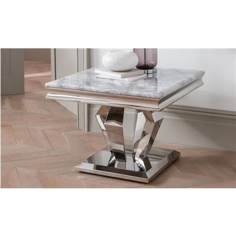 Arturo Grey Marble and Stainless Steel Chrome Lamp Table