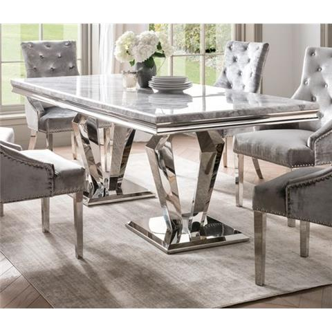 Arturo 200cm Grey Marble and Stainless Steel Chrome Dining Table