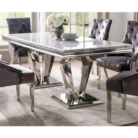 Arturo 160cm Grey Marble and Stainless Steel Chrome Dining Table