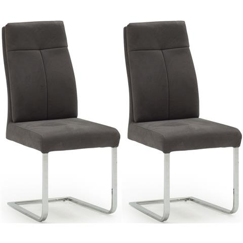 Donatella Grey Fabric and Stainlees Steel Chrome Dining Chair (Pair)