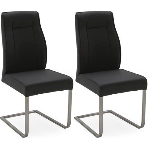Luciana Charcoal Leather Dining Chair (Pair)