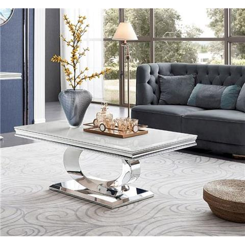 Selene Bone White Marble and Stainless Steel Chrome Coffee Table