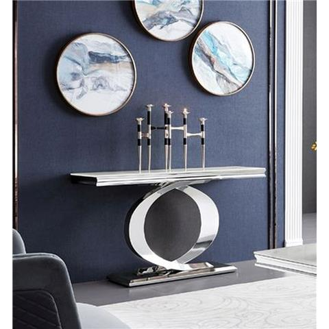 Selene Bone White Marble and Stainless Steel Chrome Console Table