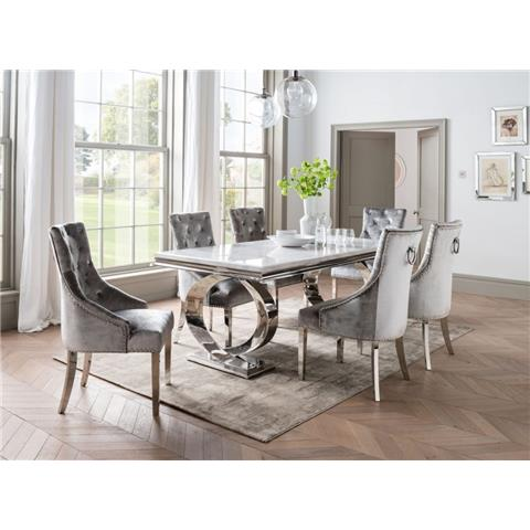 Selene 200cm Bone White Marble and Stainless Steel Chrome Dining Table