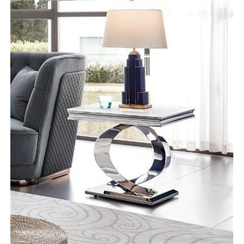 Selene Bone White Marble and Stainless Steel Chrome Lamp Table