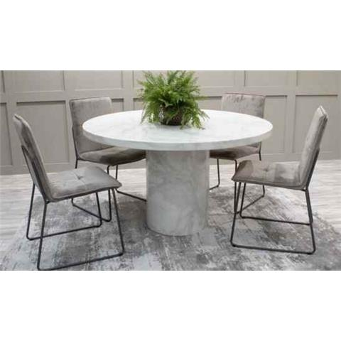 London Carra Bone White Marble Round Dining Table 130cm Diameter
