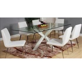 LANGLEY GLASS WHITE DINING SET