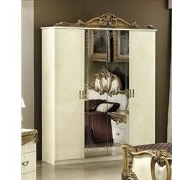 Camel Barocco Ivory and Gold Italian Wardrobe - 4 Door