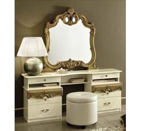 Camel Barocco Ivory and Gold Italian Vanity Dresser Set - 6 Drawers