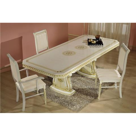 H2O Design Rossella Beige Radica-Gold Extendable Table & 6 Chairs