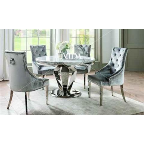 Arturo Grey Marble & Chrome Round 130cm Dining Table & 4 Chairs