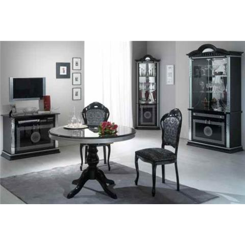 Venus Black & Silver Round Dining Table + 4 Chairs