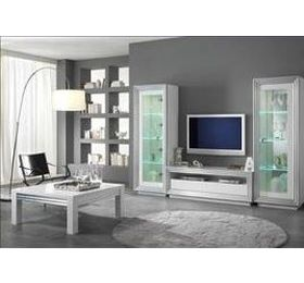 Silver White Highgloss Living Room Collection
