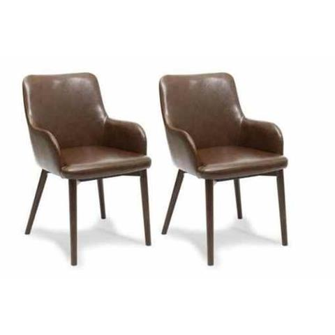 Shankar Brown Sidcup Vintage Leather Dining Chair (Pair)