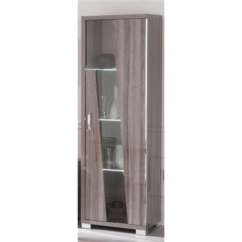 SAN MARTINO GLAMOUR GREY WALNUT 1 DOOR CABINET WITH LED LIGHT