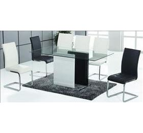 UNION BLACK & WHITE GLASS DINING SET