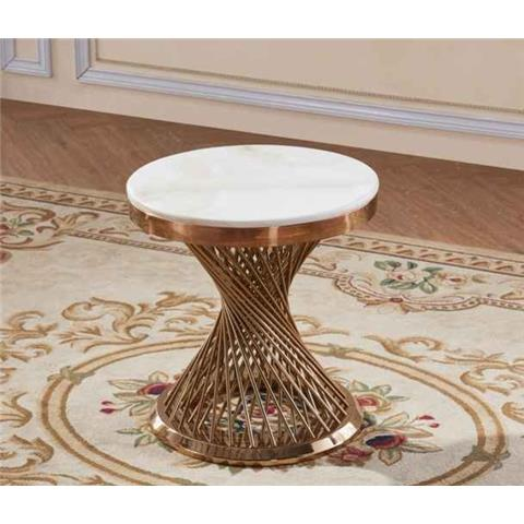 Pescara Marble Lamp Table with Stainless Steel Base