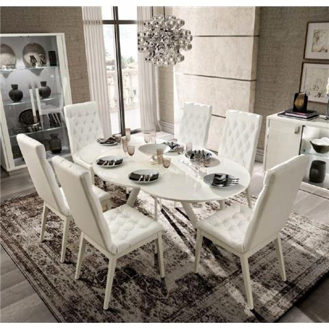 Camel Roma Day White Italian Round Extending Dining Table