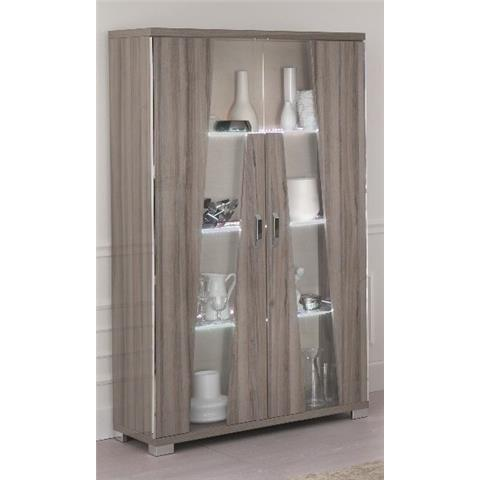 SAN MARTINO GLAMOUR GREY WALNUT 2 DOOR CABINET WITH LED LIGHT