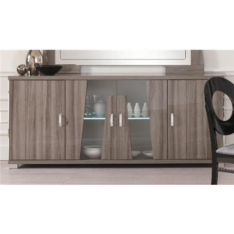 SAN MARTINO GLAMOUR GREY WALNUT 4 DOOR SIDEBOARD WITH LED LIGHT