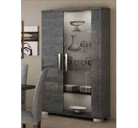 Sarah Highgloss Grey Birch 2 Door Wall Unit