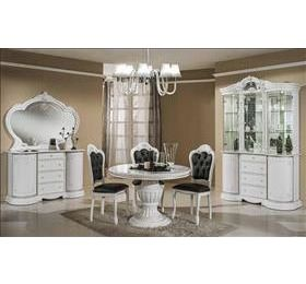 Prestige White Highgloss round table and 4 chairs