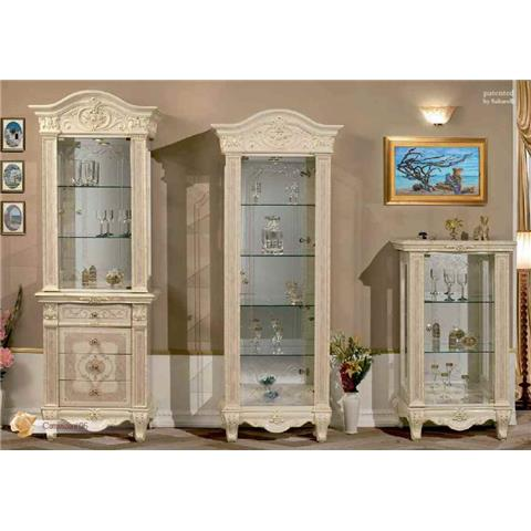 Versailles Italian Cream 1 Door Tall Glass Unit