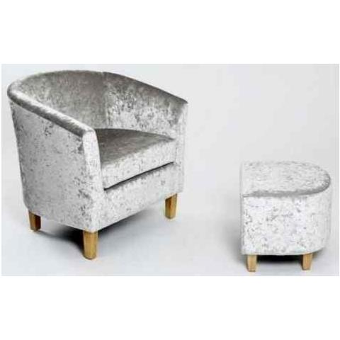 Shankar Silver Crushed Velvet Tub Chair Set