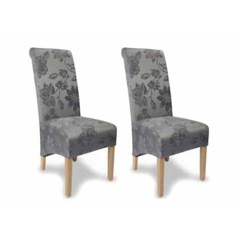 Shankar Krista Fleur Antique Grey Fabric Dining Chair (Pair)