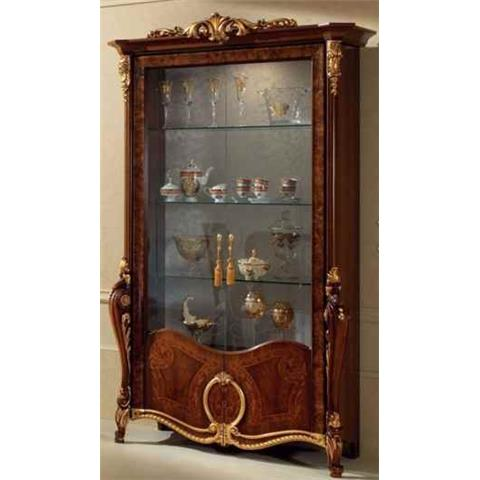 Arredoclassic Donatello Brown Italian 2 Glass Door Display Cabinet
