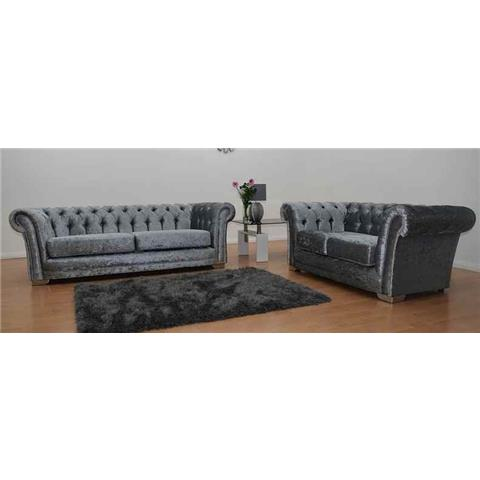 Chesterfield Silver Crushed Velvet 3 + 2