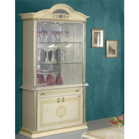 Ben Company New Venus Beige and Gold Italian 2 Door Vitrine