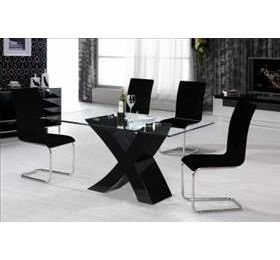 ARIZONA HIGH GLOSS BLACK GLASS DINING TABLE