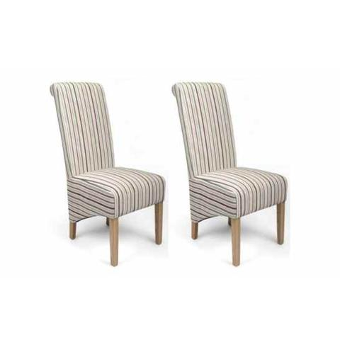 Shankar Krista Stripe Duck Egg Blue Dining Chair (Pair)