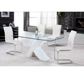 ARIZONA HIGH GLOSS WHITE GLASS DINING TABLE
