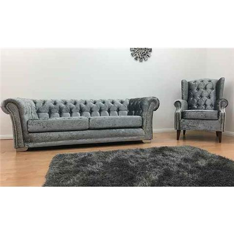 Chesterfield Crushed Velvet 3 Seater B