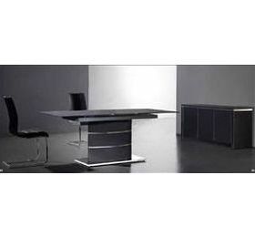 Alma Black Highgloss Dining Table + 6 Chairs