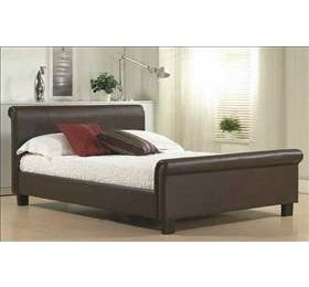 Aurora '4ft 6' Brown Leather Bedframe