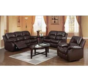 HF Carlino Brown Leather Recliner Suite
