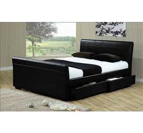 Houston '4ft 6' Black Leather Bedframe