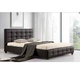Lattice Black Leather King Size Bed