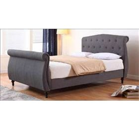 Marianna Linen Double Bed Dark Grey