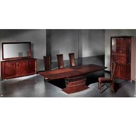 Rhapsody EXT Brown Walnut Highgloss Dining Table + 6 Chairs