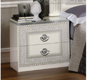 Aida white and silver bedside cabinet