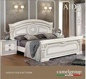 Aida white and silver bedframe