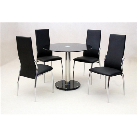 Alzona round black dining table and 4 chairs