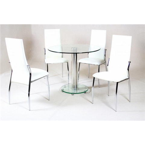 Alzona Round Clear Table And 4 Chairs