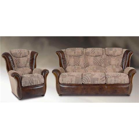 Amelie Italian Fabric & Leather 3 + 1 + 1 Sofa Suite