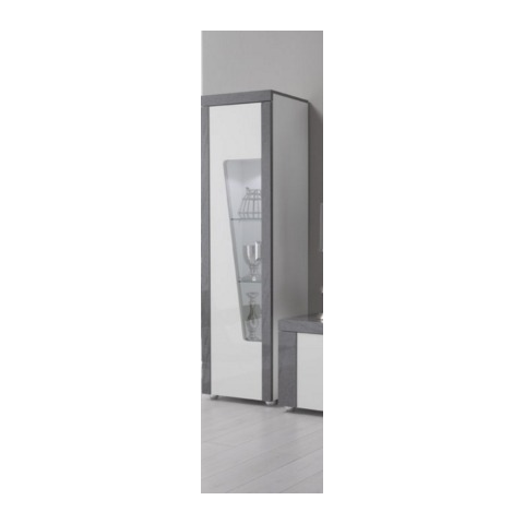 ascot grey and white high gloss marble effect one door unit