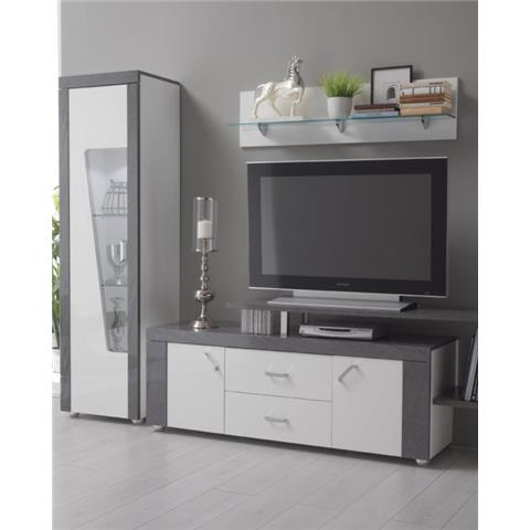 ascot grey and white high gloss marble effect tv unit with shelf